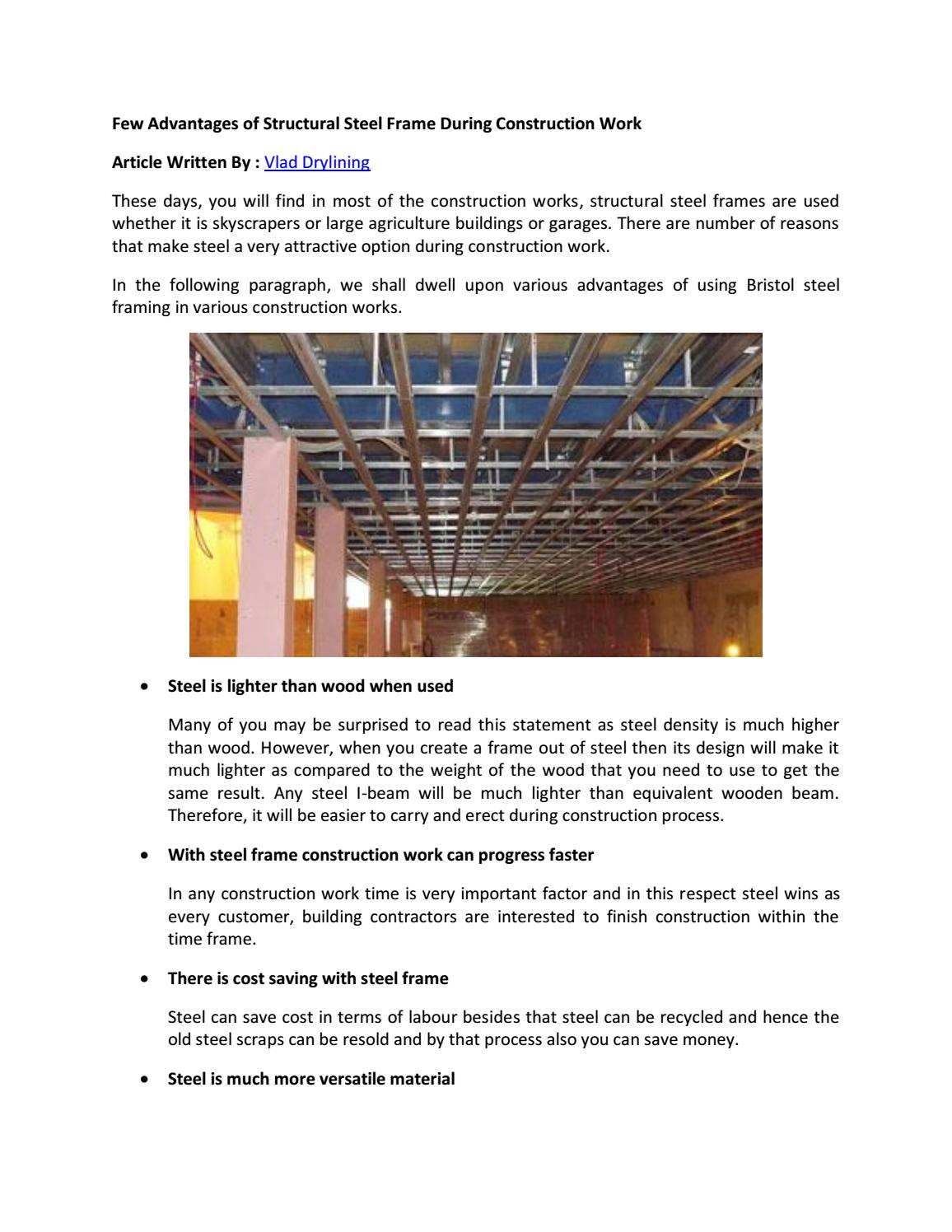 Few advantages of structural steel frame during construction work by ...