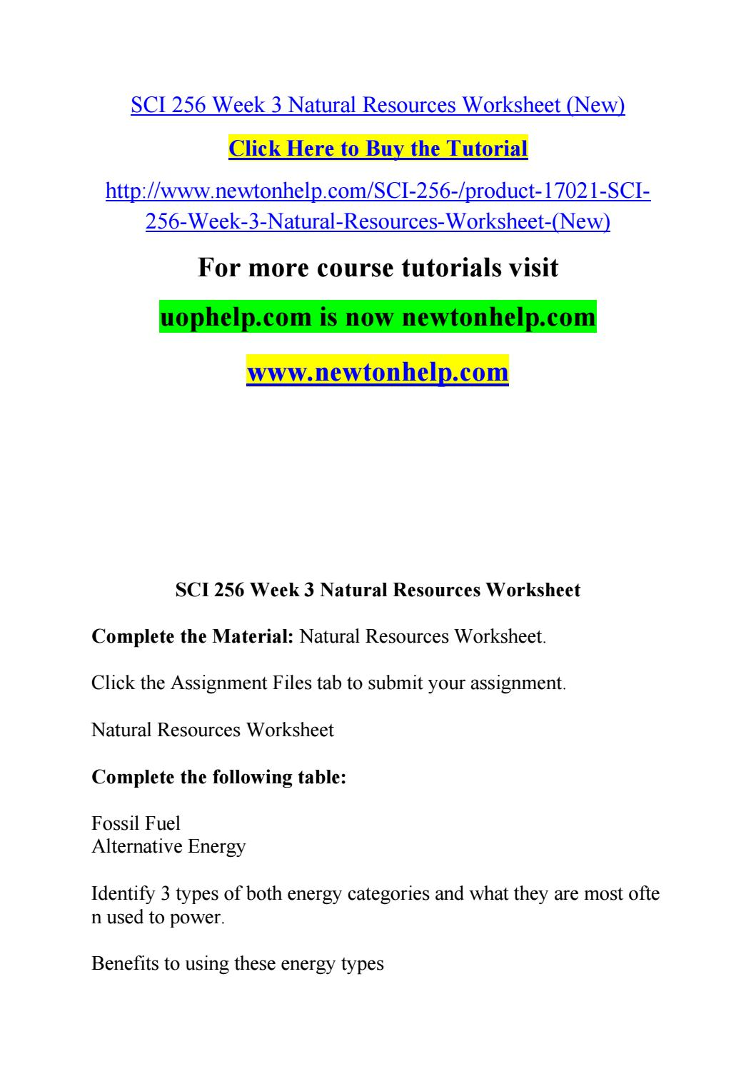 sci 256 week 3 learning natural Essayslink by hwnerds updated sci 256 week 3 natural resources worksheet whether you don't have the time or your – get your learning team portion.