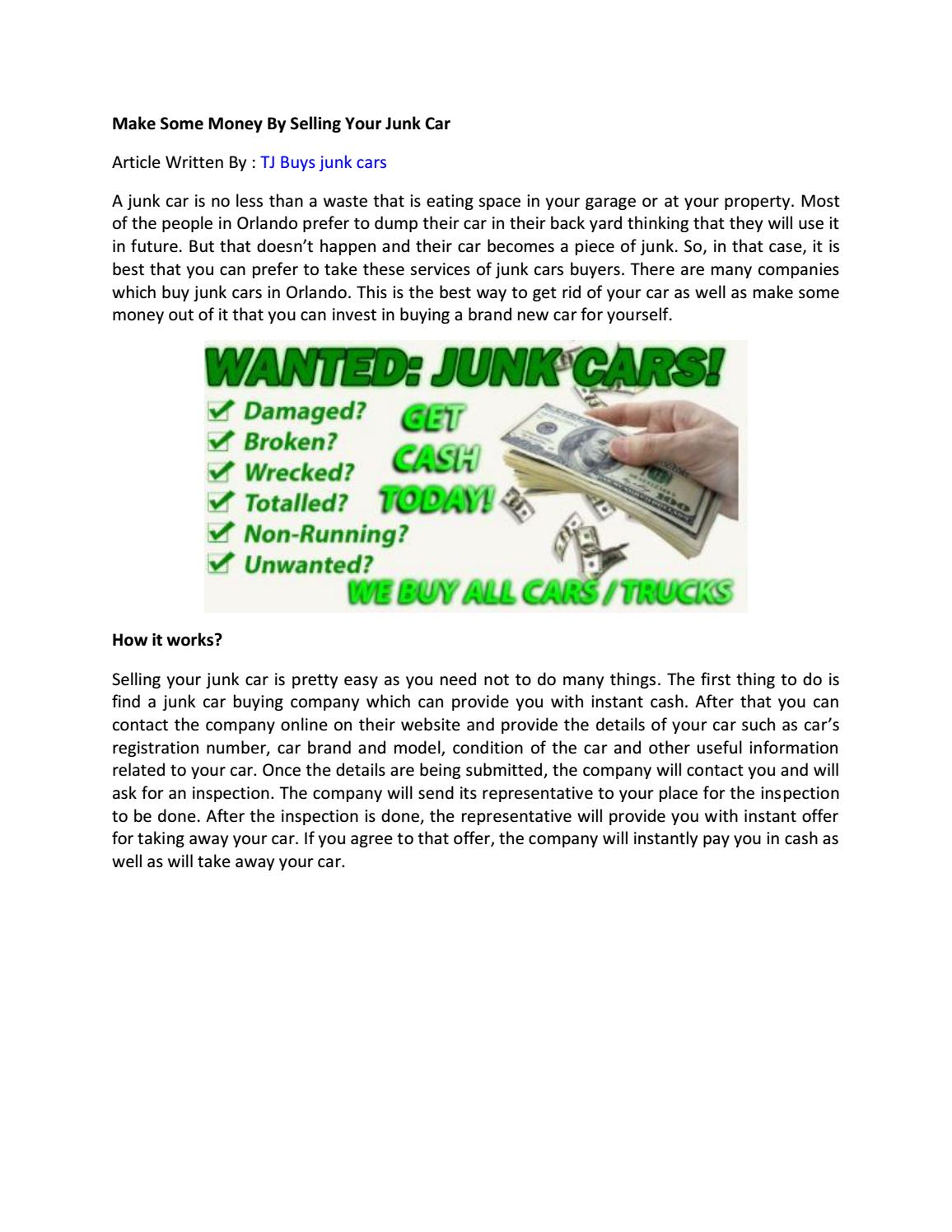 Make some money by selling your junk car by Rajes muduli - issuu
