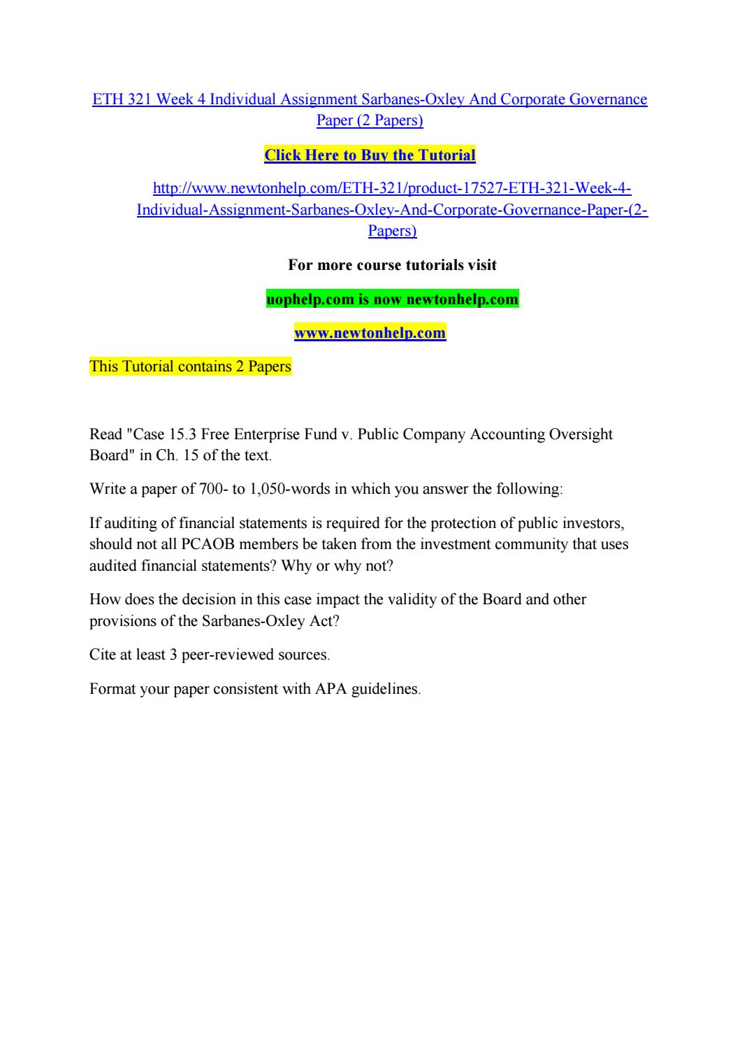 Eth 321 Week 4 Individual Assignment Sarbanes Oxley And Corporate