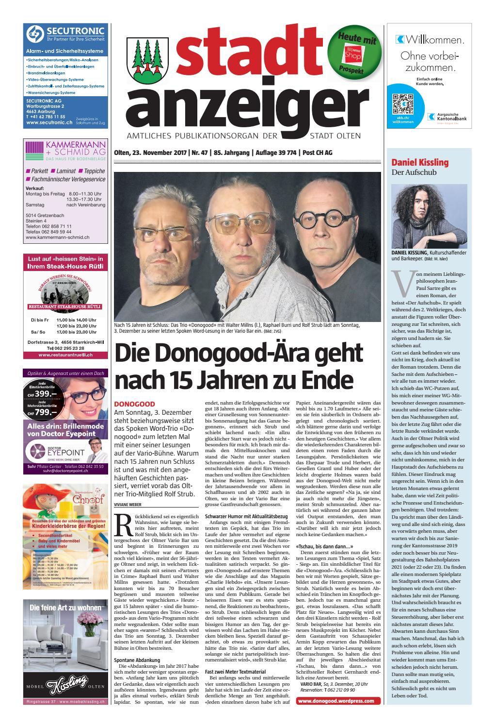 Stadtanzeiger Olten Ausgabe 47 (23. November 2017) by Stadtanzeiger ...