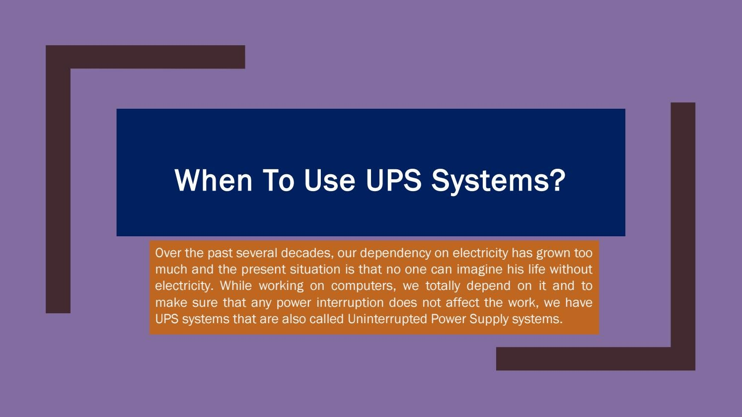When to use ups systems by Rdtechnology - issuu