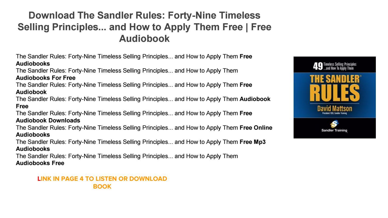 Sandler Rules Book