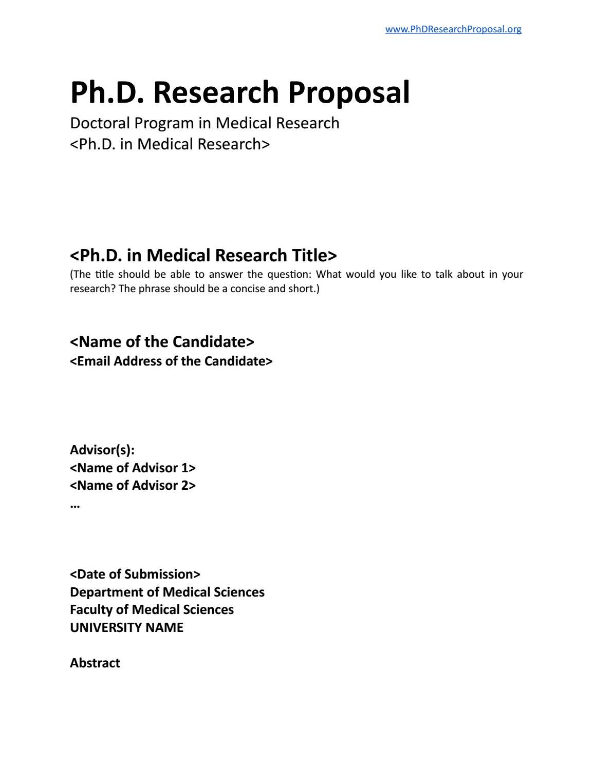Phd Research Proposal Layout