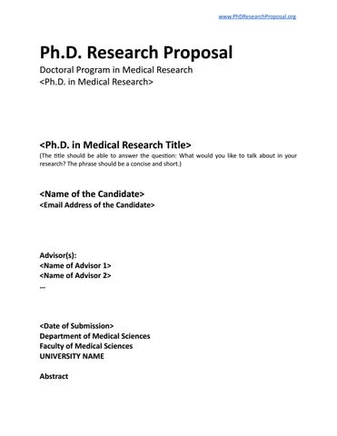 Phd Research Proposal Template By Phd Research Proposal  Issuu