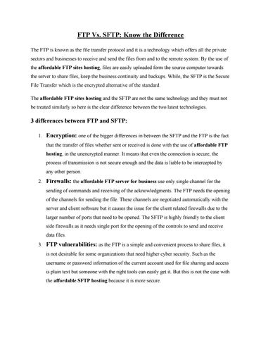 FTP Vs  SFTP: Know the Difference by ftpworldwideftp - issuu