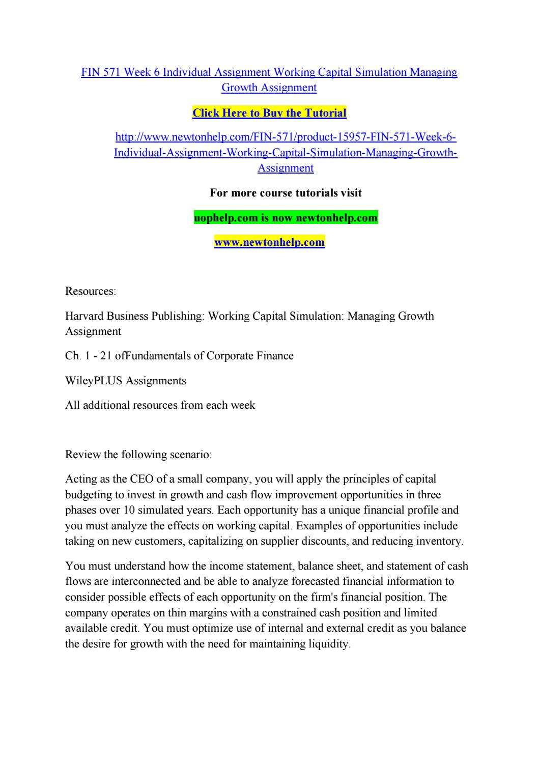 working capital simulation managing growth part 1