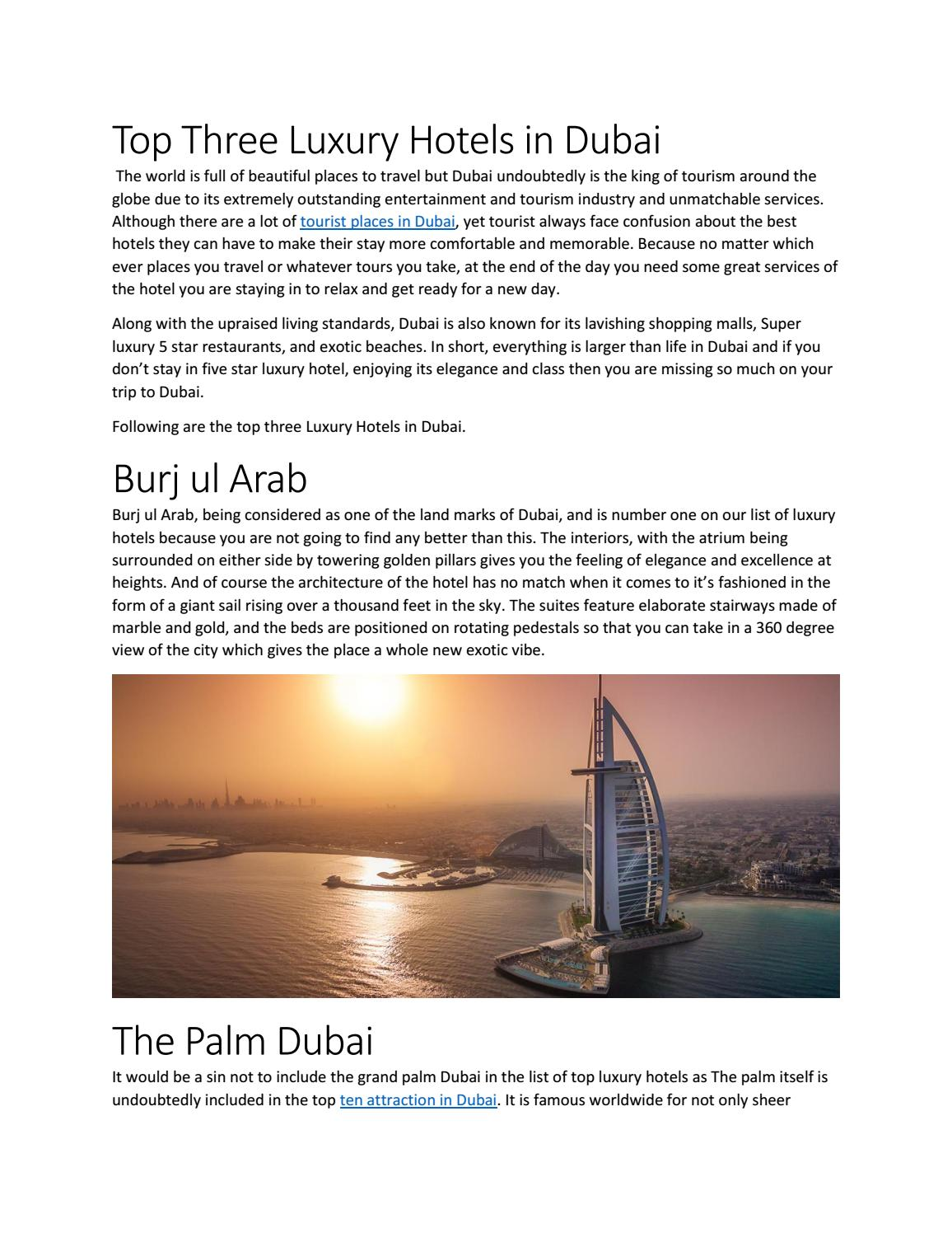 Top four luxury hotels in dubai by mali james - issuu