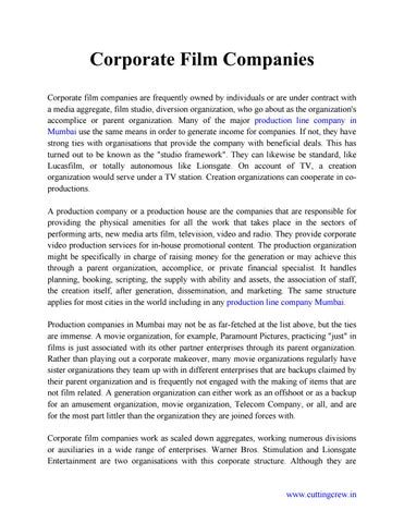 Corporate film companies by cutting crew issuu corporate film companies corporate film companies are frequently owned by individuals or are under contract with a media aggregate film studio thecheapjerseys