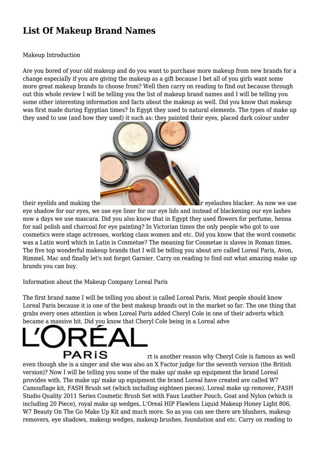 Makeup Brand Names By Reidgesozawrrf