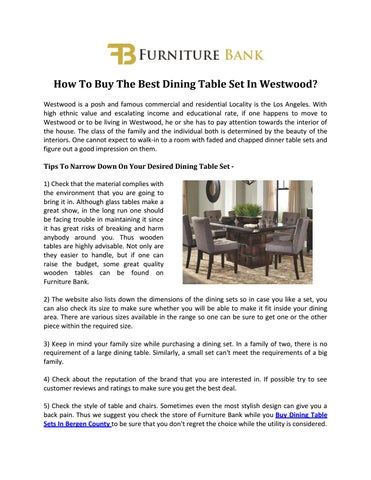 How To Buy The Best Dining Table Set In Westwood? Westwood Is A Posh And  Famous Commercial And Residential Locality Is The Los Angeles.