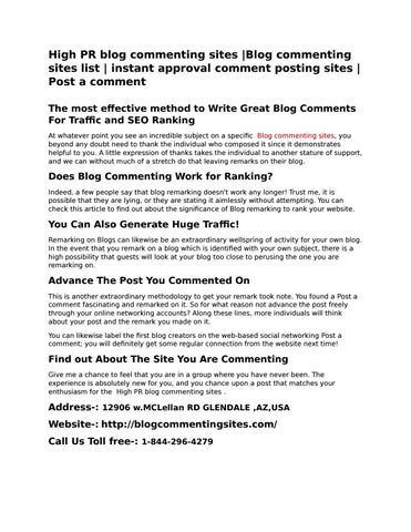 Blog commenting sites list| Post a comment| blog commenting sites