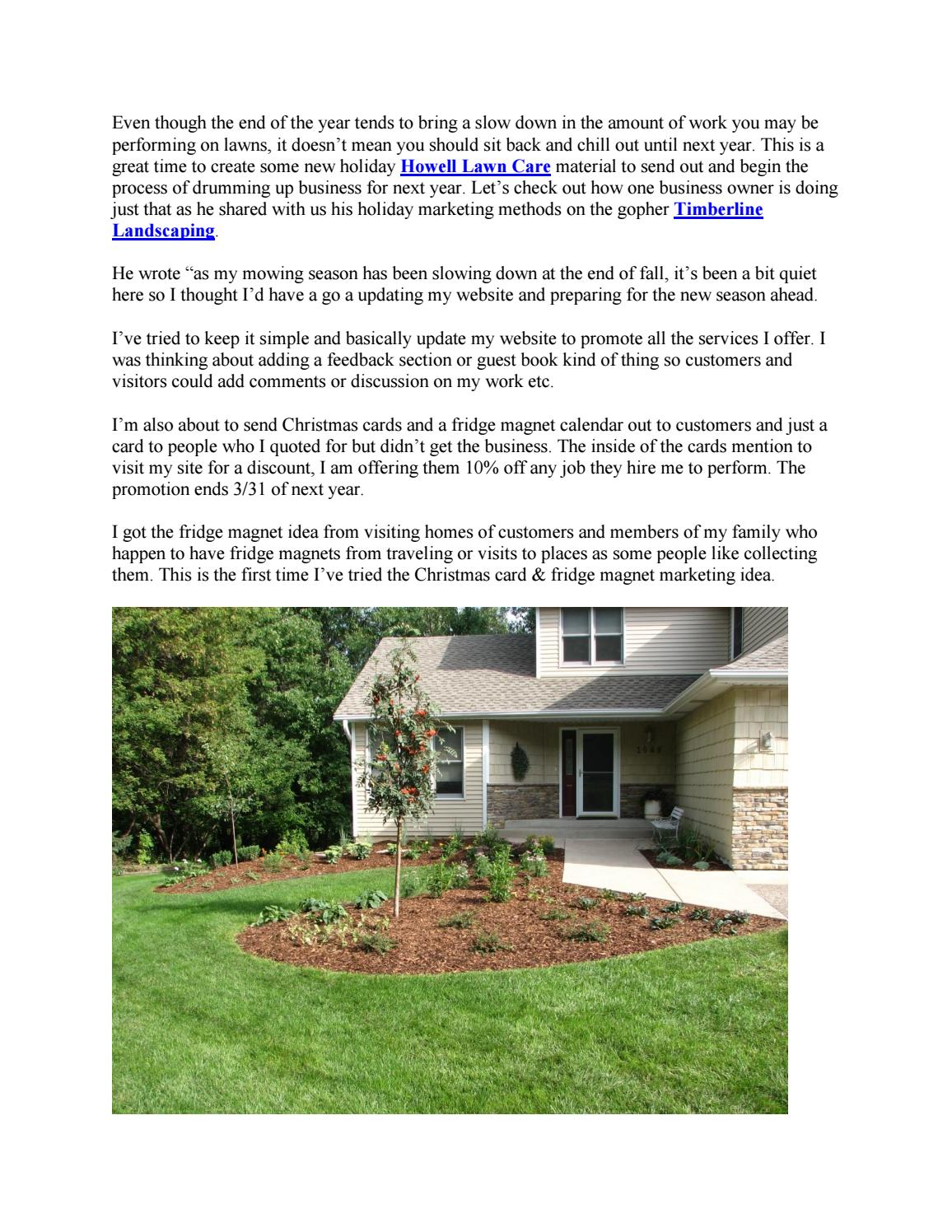 Christmas Lawn Care Marketing Ideas By Timberline Outdoor Services Issuu