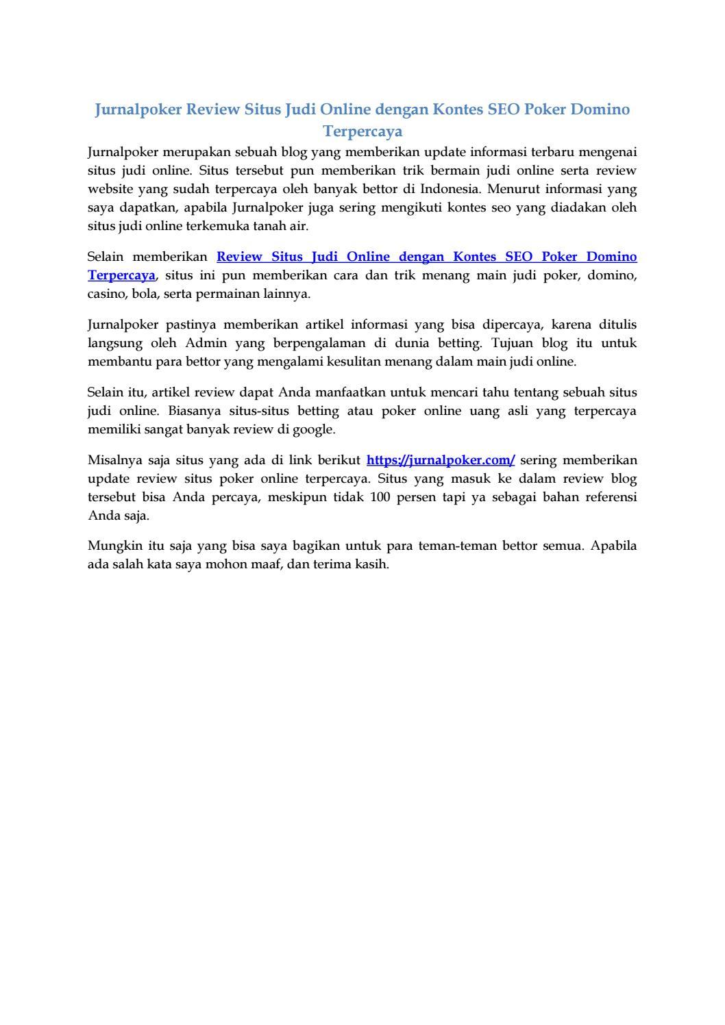 Review Situs Judi Online Dengan Kontes Seo Poker Domino Terpercaya By Jananurjadin72 Issuu