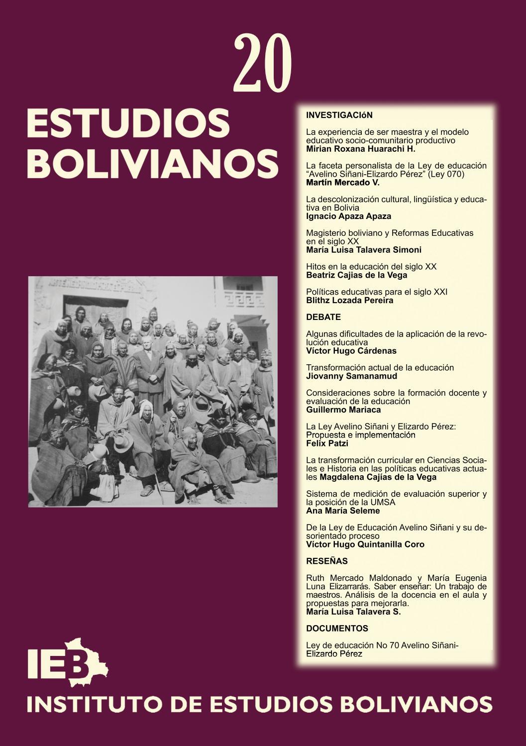 Estudios Bolivianos 020 by Postgrado Humanidades UMSA - issuu