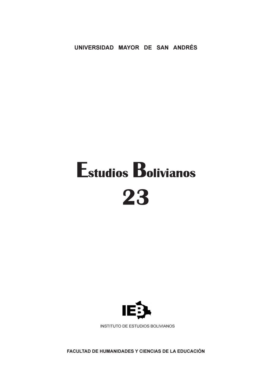 estudios bolivianos 023 by postgrado humanidades umsa issuu