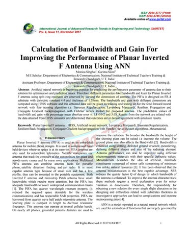 Calculation of bandwidth and gain for by IJARTET - issuu