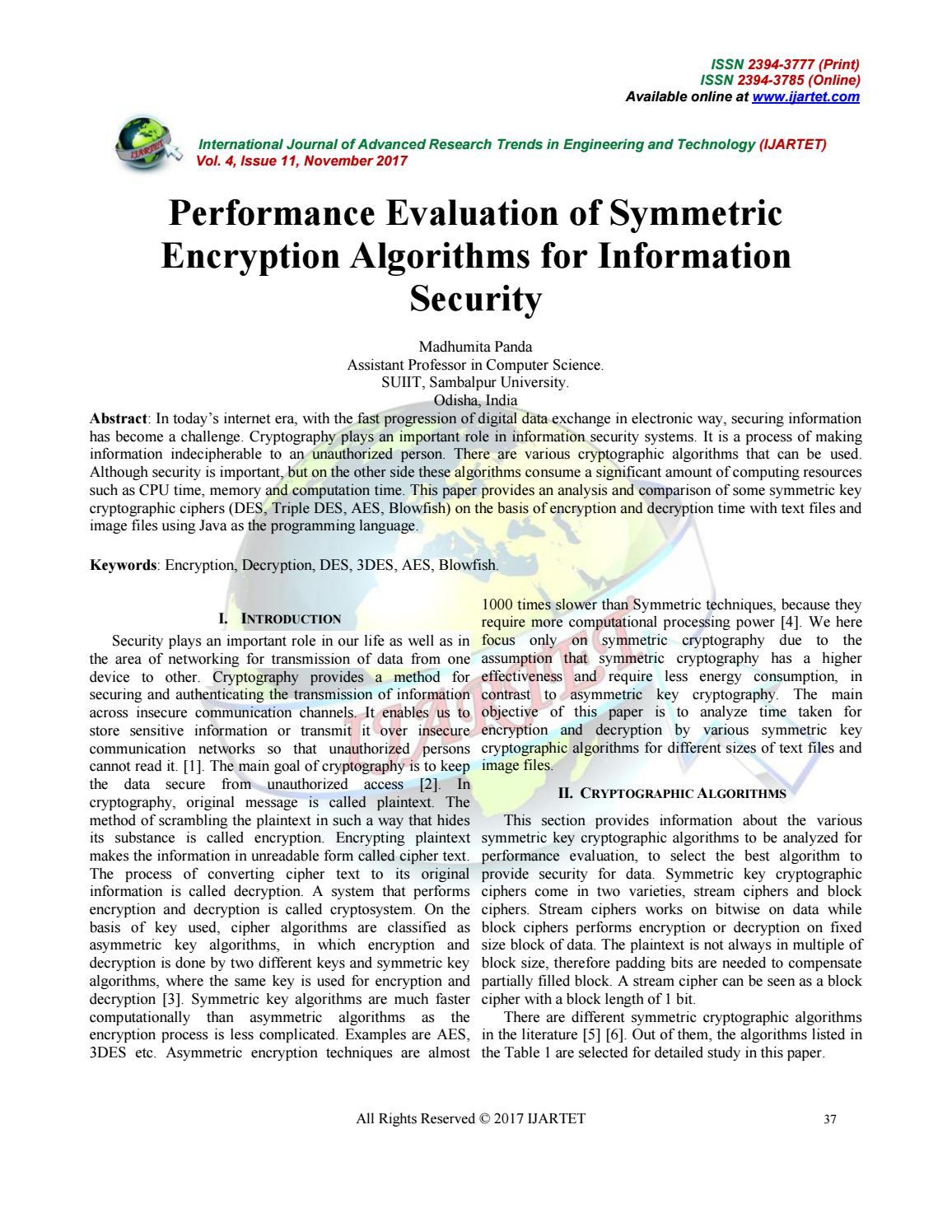 Performance evaluation of symmetric by IJARTET - issuu