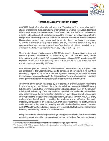 Data Privacy Policy >> Personal Data Protection Policy Amcham Gt By Amcham