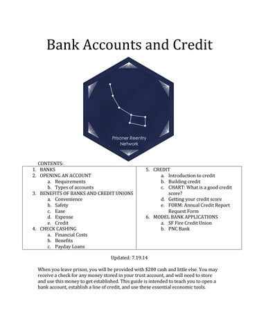 Prisoner reentry network bank accounts by