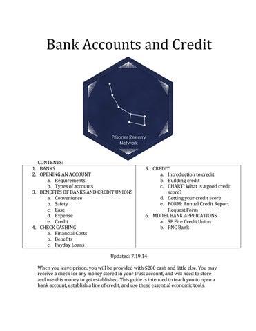 Prisoner reentry network bank accounts