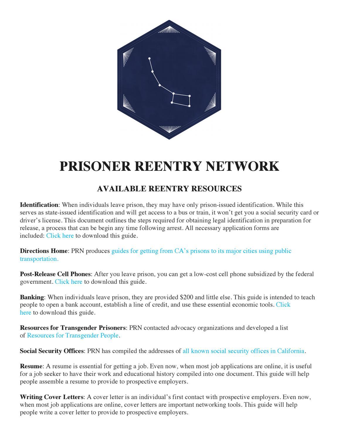 Prisoner reentry network resource list by prisonerreentrynetwork - issuu