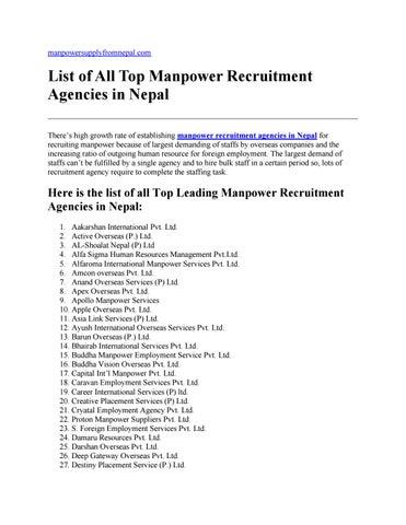 employment list