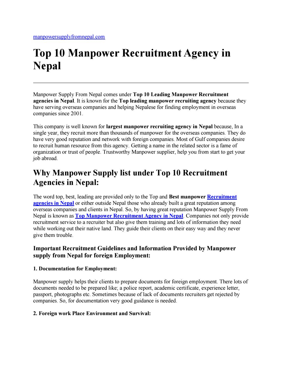Top 10 Manpower Recruitment Agency in Nepal by Manpower Supply From