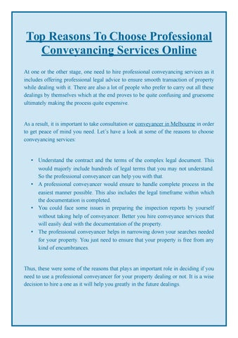 Top reasons to choose professional conveyancing services online by top reasons to choose professional conveyancing services online at one or the other stage one need to hire professional conveyancing services as it solutioingenieria Image collections