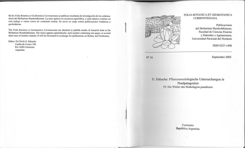 Pflanzensoziologische Untersuchungen in Nordpatagonien IV