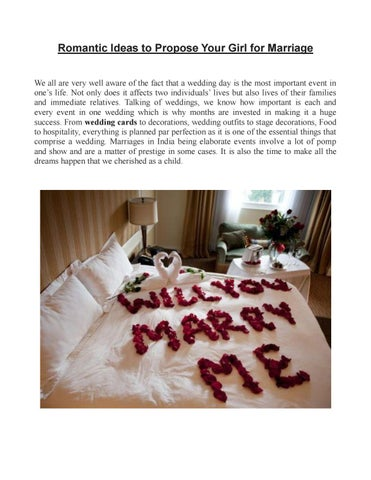 Romantic Ideas To Propose Your Girl For Marriage By The Wedding