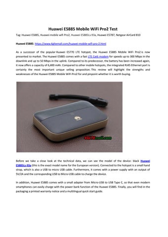 Huawei E5885 Mobile WiFi Pro2 Test by Lte Mall - issuu