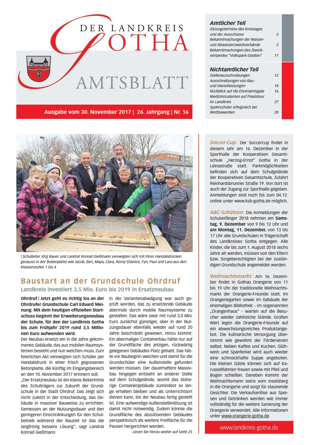 Amtsblatt Des Landkreises Gotha Nr 162017 Vom 30112017 By