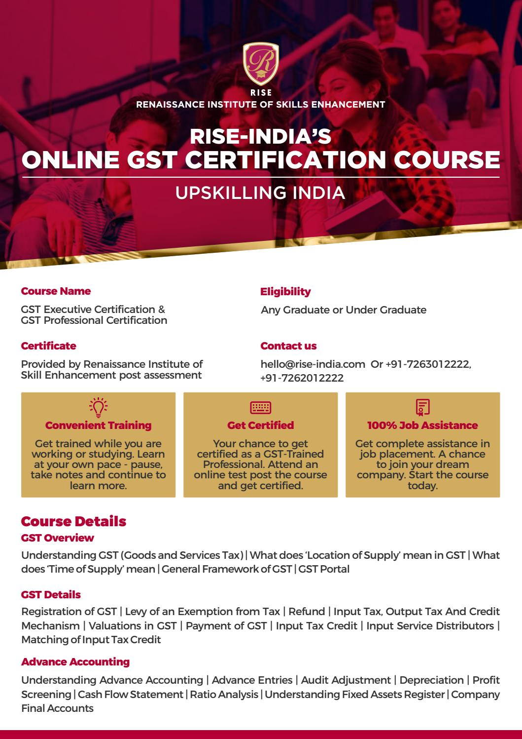 Online Gst Certification Course By Rise India By Officialrisein Issuu