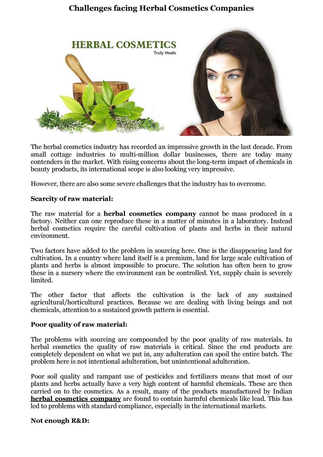 Challenges facing herbal cosmetics companies by everydayherbal - issuu