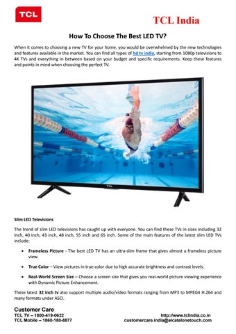 Tcl India How To Choose The Best Led Tv When It Comes Choosing A New For Your Home You Would Be Overwhelmed By Technologies And Features