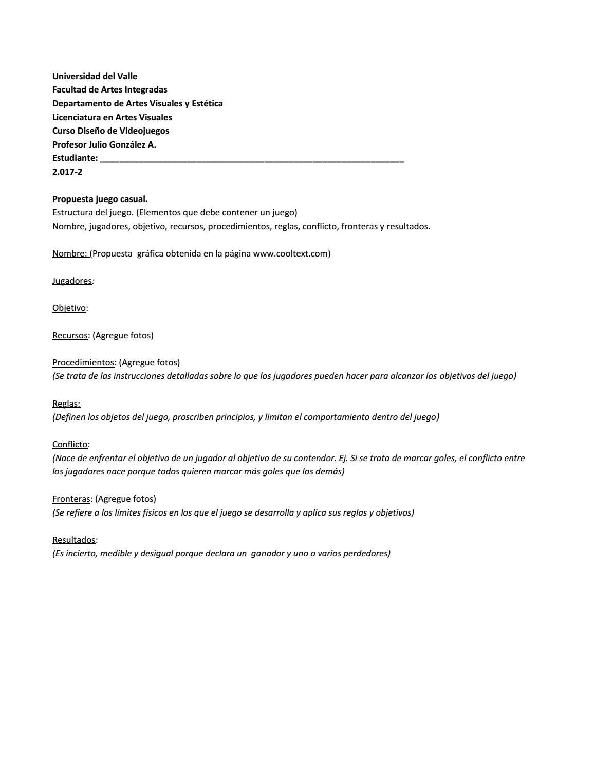Diseno De Videojuegos Plantilla De Documento De Entrega De Trabajo