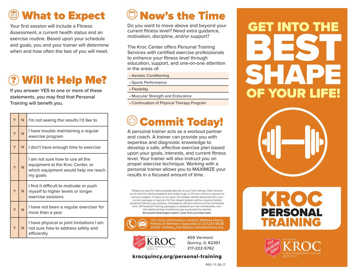 Personal Training Brochure By Kroc Center Quincy Illinois Issuu