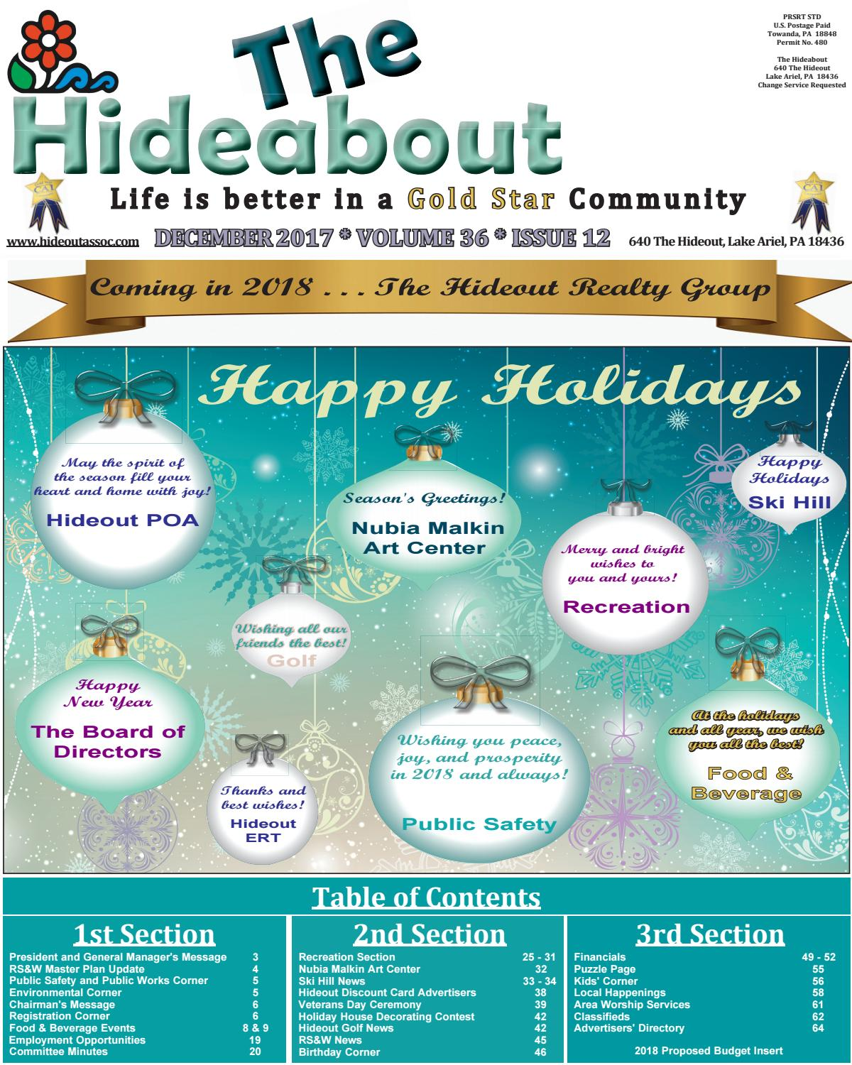 The Hideabout December 2017 by The Hideout - issuu