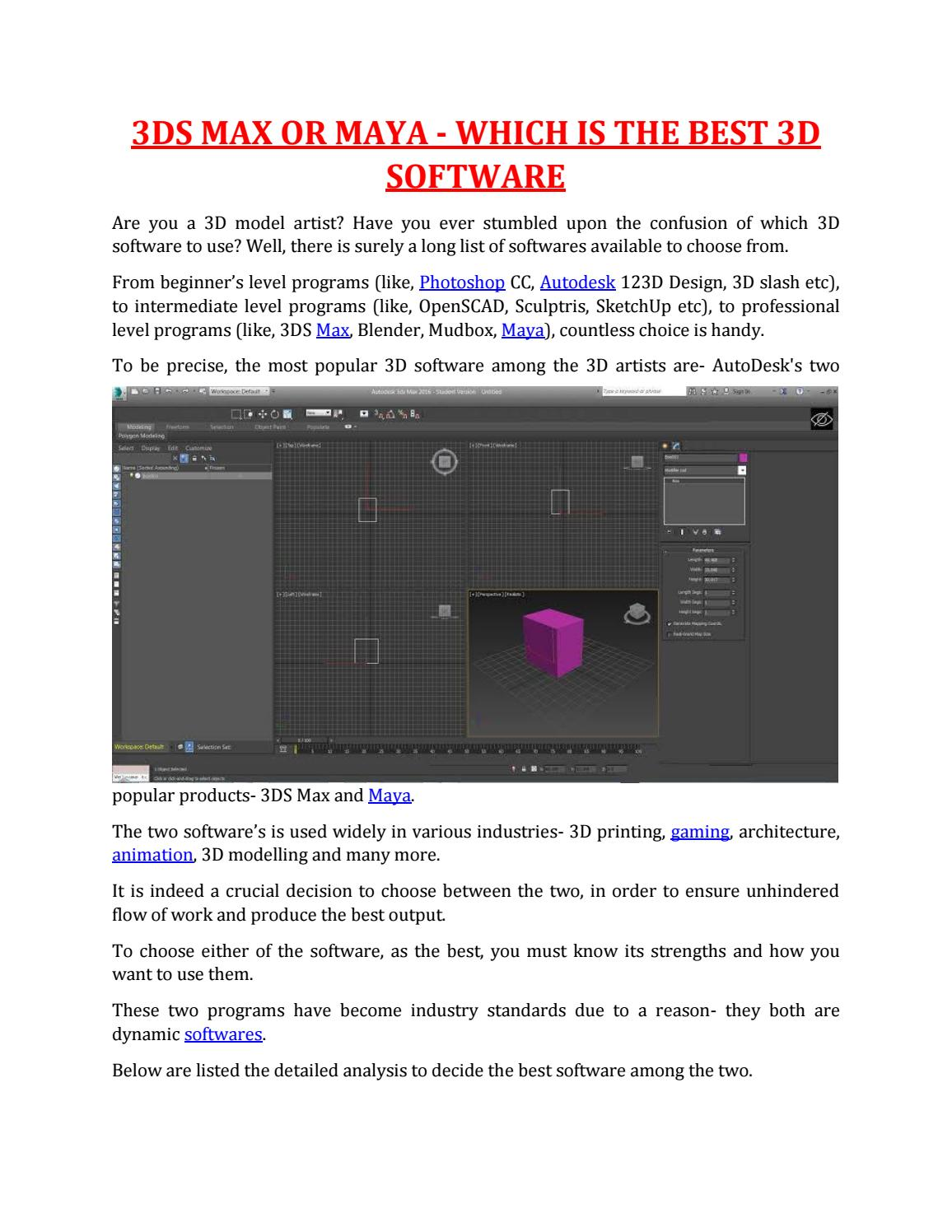 3DS MAX OR MAYA WHICH IS THE BEST 3D SOFTWARE by MAAC