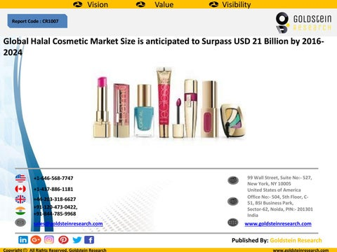 Global Halal Cosmetic Market Size is anticipated to Surpass USD 21