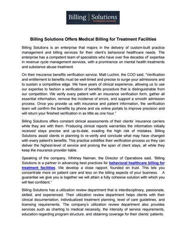 Billing Solutions Offers Medical Billing For Treatment Facilities By