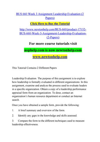 Bus  Week  Assignment Leadership Evaluation  Papers By