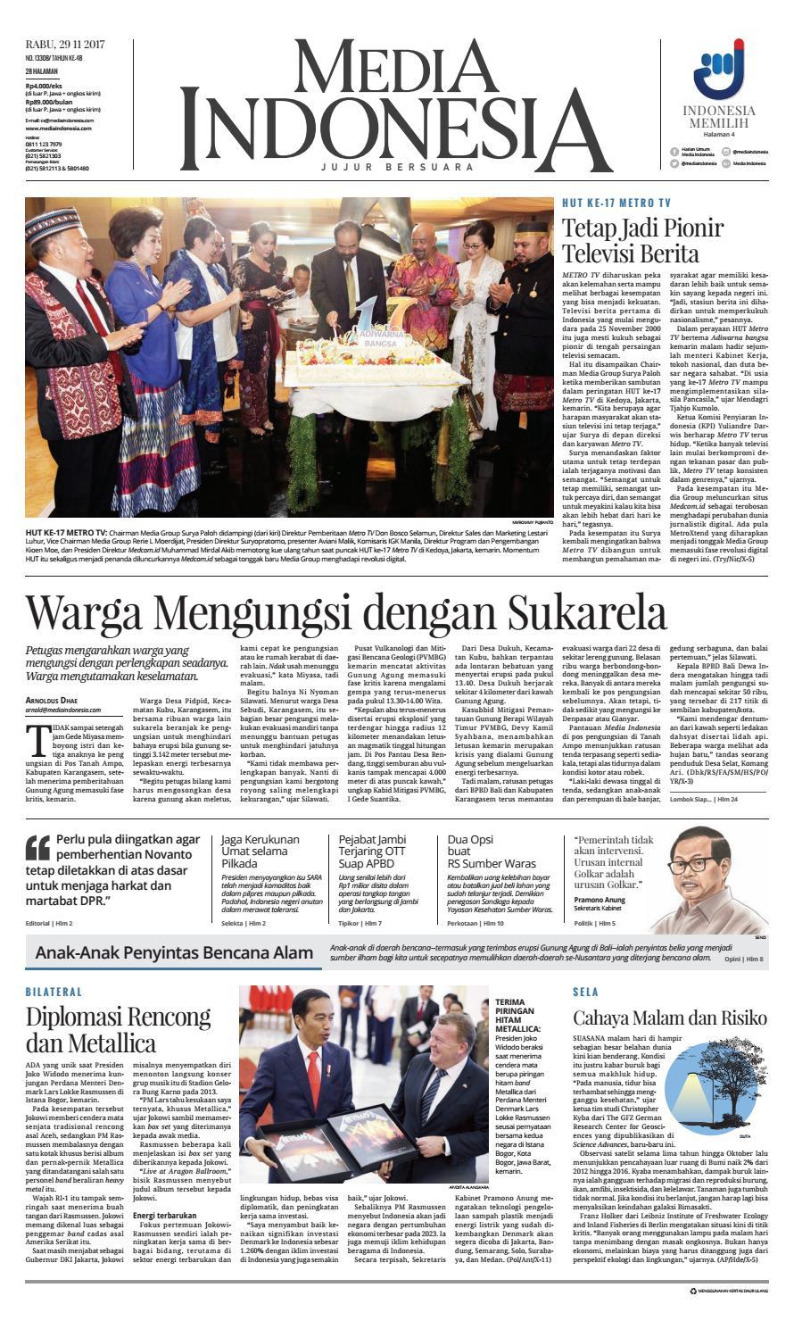 Media Indonesia 29 11 2017 29112017145838 By Oppah Issuu Instruksikan pasien tentang peningkatan masukan makanan atau cairan tinggi kalium. media indonesia 29 11 2017