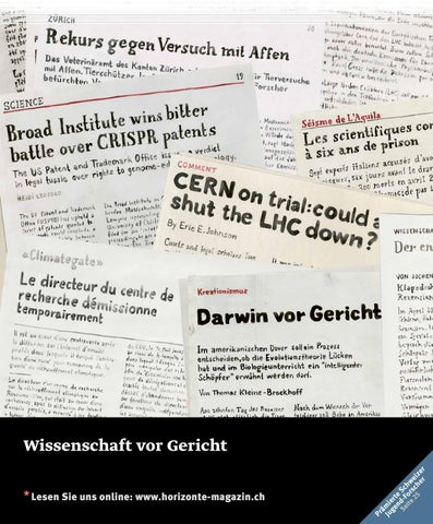 Horizonte 115 - Wissenschaft vor Gericht by SNSF - issuu