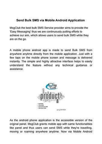 Send Bulk SMS via Mobile Android Application by msgclub - issuu