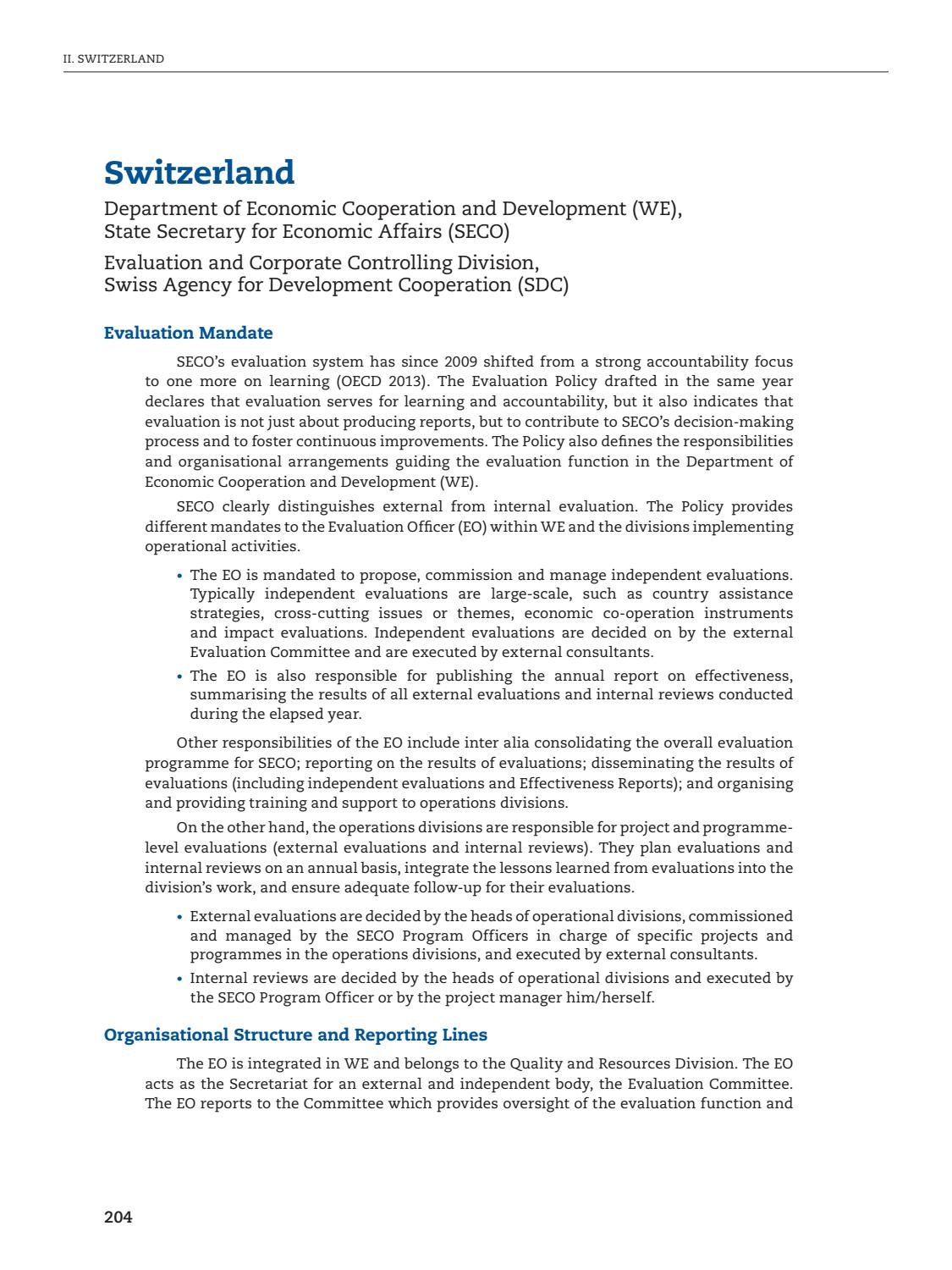 Switzerland Evaluation Profile - Evaluation Systems Review