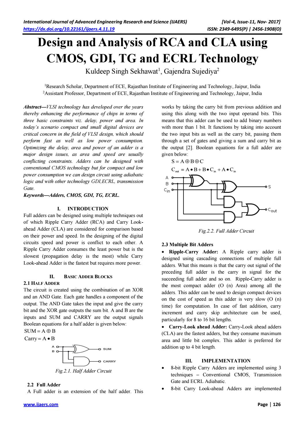19 Design And Analysis Of Rca By Ijaers Journal Issuu Full Adder Circuit