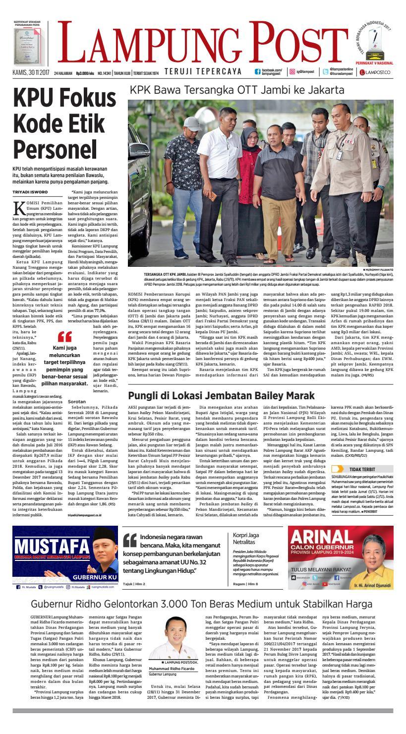 Lampung Post Kamis 30 November 2017 By Issuu Weber Keranjang Ikan Besar