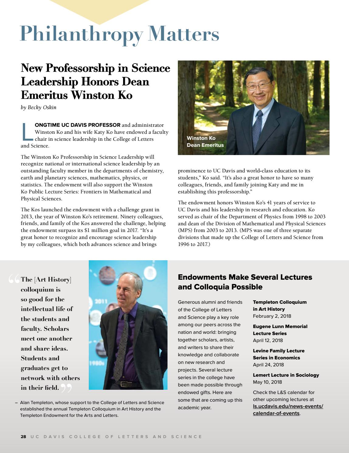 Uc Davis Academic Calendar.Uc Davis College Of Letters And Science Magazine Fall 2017 By Uc